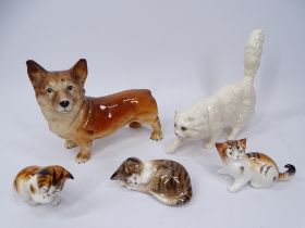 ROYA DOULTON MODELS OF CATS (4), 18cms the largest and a Melba ware Corgi
