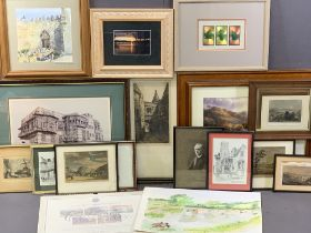 PAINTINGS & PRINTS an assortment to include antique print of Merton College, Oxford, Sir William