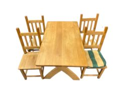 MODERN LIGHT OAK DINING TABLE & FOUR CHAIRS, the rectangular top on X frame supports, 76cms H,