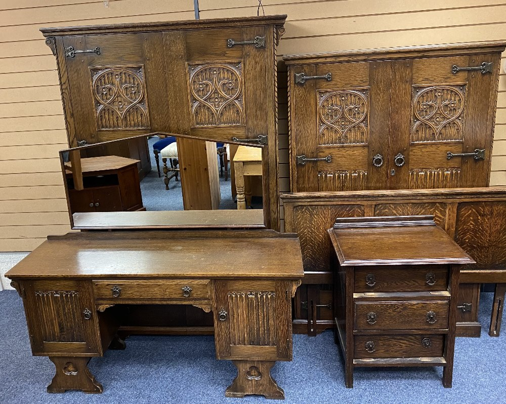 PRIOR STYLE OAK THREE PIECE BEDROOM SUITE, headboard and a small three drawer chest, the suite