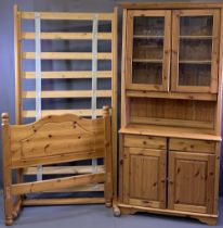 REPRODUCTION PINE GLASS TOPPED DRESSER and a 3ft single bed frame, 199cms H, 93cms W, 39cms D and