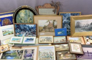 MYLES BIRKET FOSTER print and a quantity of other paintings and prints, works on papyrus, a Georgian