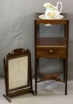 GEORGIAN MAHOGANY WASHSTAND and a similar period swing toilet mirror, the stand with top