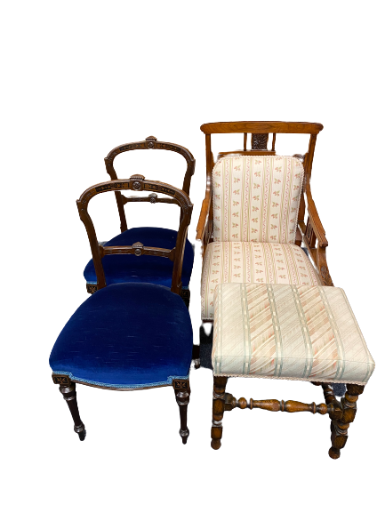 EDWARDIAN SALON CHAIRS (3) and a vintage oak footstool to include a mahogany armchair with carved