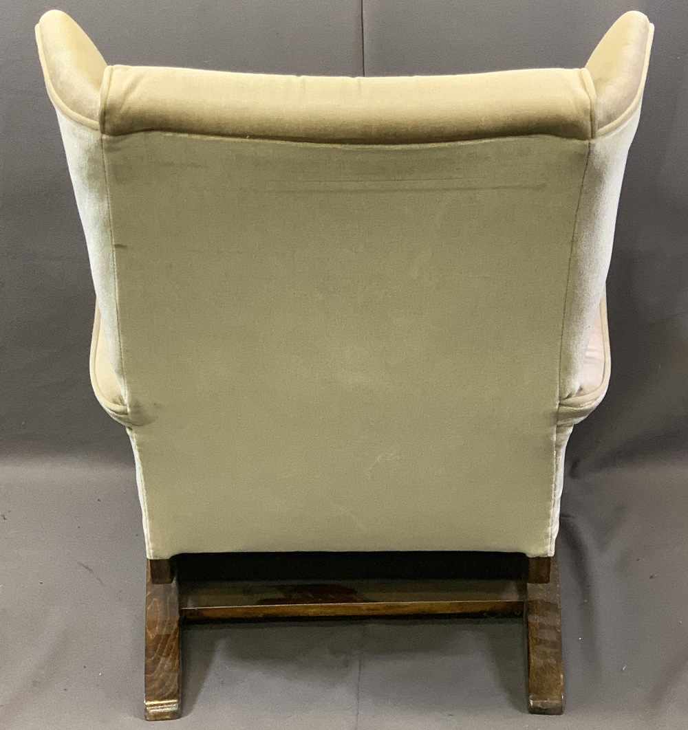VINTAGE STYLE OAK FRAMED ROCKING WING-BACK ARMCHAIR with button upholstery, 87.5cms H, 64cms W, - Image 3 of 4