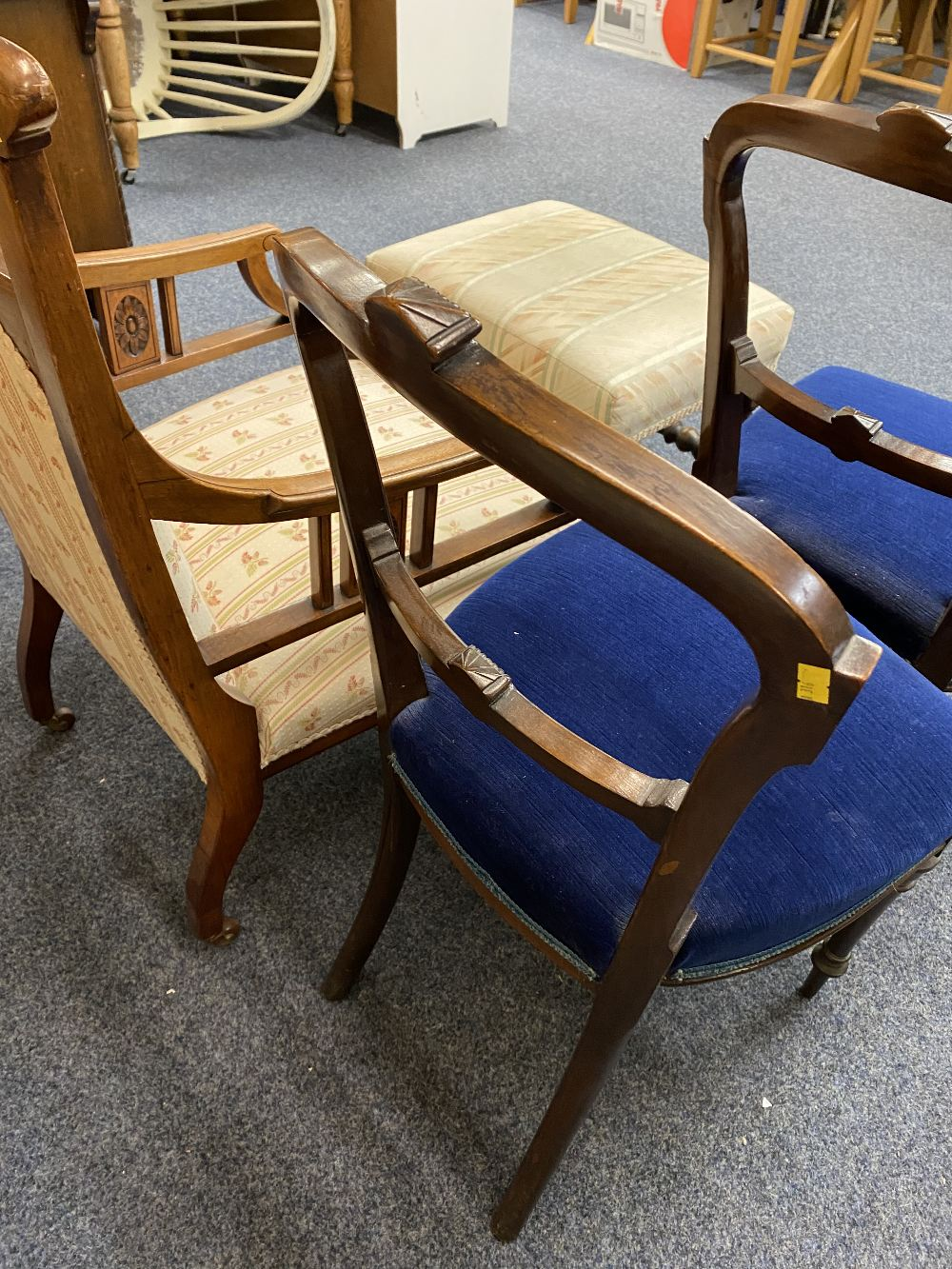EDWARDIAN SALON CHAIRS (3) and a vintage oak footstool to include a mahogany armchair with carved - Image 2 of 3