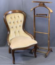 REPRODUCTION MAHOGANY BUTTON BACK UPHOLSTERED BALLOON BACK SALON CHAIR and a vintage style wooden