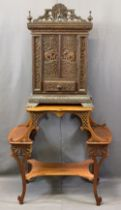 CIRCA 1900 INDIAN CARVED HARDWOOD TABLE CABINET with an Edwardian mahogany fancy side table, the