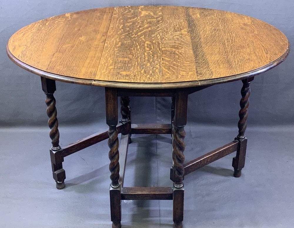VINTAGE OAK DUTCH TOP DRESSER and an oak barley twist gateleg dining table, 191cms overall H, 96. - Image 5 of 5