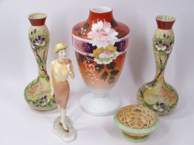 ROYAL WORCESTER WEST END GIRL FIGURINE, Grangers Worcester reticulated bowl and three Victorian Milk