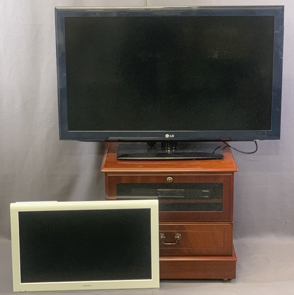 VISUAL ENTERTAINMENT GROUP, FOUR ITEMS to include a wall mount Toshiba LCD tv in white, LG