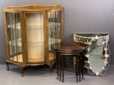 VINTAGE FURNITURE GROUP, FOUR ITEMS to include a walnut Serpentine front China display cabinet