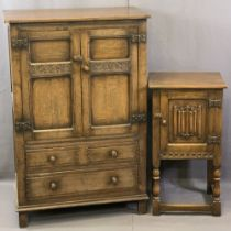 REPRODUCTION OAK TALLBOY & SIMILAR POT CUPBOARD, the tallboy with iron hinges holding twin peg-
