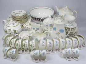 WEDGWOOD ICE ROSE TEA, COFFEE & DINNERWARE, 50 plus pieces and Wedgwood Wild Strawberry teaware,