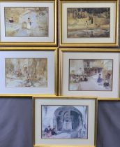 SIR WILLIAM RUSSELL FLINT prints, (4) 2 x 2 - all typical scenes, matching frames, 23 x 34cms, and