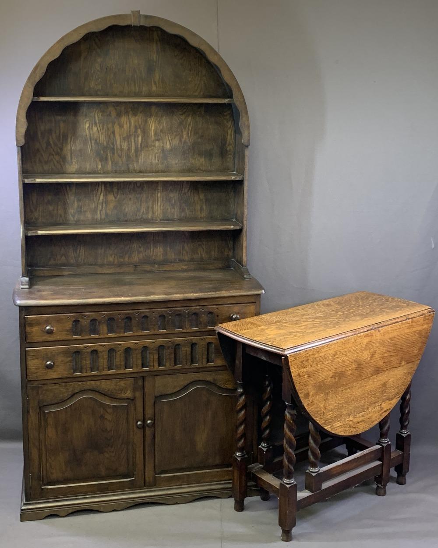 VINTAGE OAK DUTCH TOP DRESSER and an oak barley twist gateleg dining table, 191cms overall H, 96.