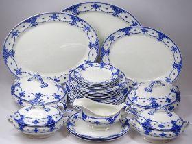 ECLIPSE SEMI-PORCELAIN VINTAGE BLUE & WHITE DINNERWARE, 25 plus pieces including sauce and vegetable