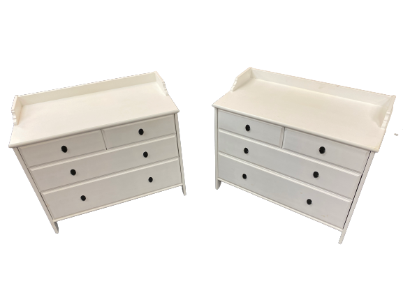 PAINTED PINE EFFECT RAILBACK BEDROOM CHESTS (2) having two short over two long drawers with drop