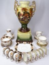 ENGLISH BELL CHINA & OLD ROYAL PART TEASETS, a quantity, along with a large Victorian vase on stand