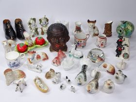 COLLECTABLE CABINET FIGURINES, animals and ornaments including a Black Boy tobacco jar, miniature