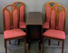 REPRODUCTION MAHOGANY DINING SUITE of drop-leaf table and four chairs, 73.5cms H, 100cms L, 34cms