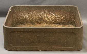 VICTORIAN CAST IRON SINK, Belfast style, named to the front 'Clay Ellesmere', 17.5cms H, 55cms W,