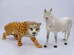 BESWICK JAGUAR, 29cms long and a Royal Doulton Dappled Grey Horse, 18cms H