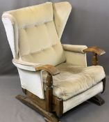 VINTAGE STYLE OAK FRAMED ROCKING WING-BACK ARMCHAIR with button upholstery, 87.5cms H, 64cms W,