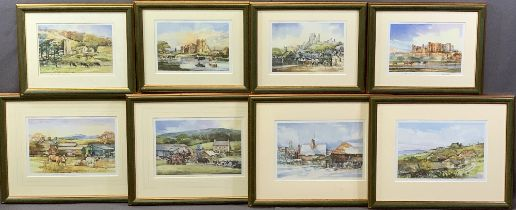 TOM HARLAND limited edition prints (8) with matching frames, all signed and numbered in pencil,