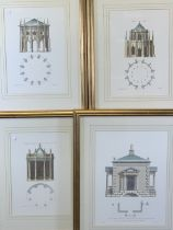 ARCHITECTURAL TYPE PRINTS - Gothic Temple (2), 40 x 28cms both and two others