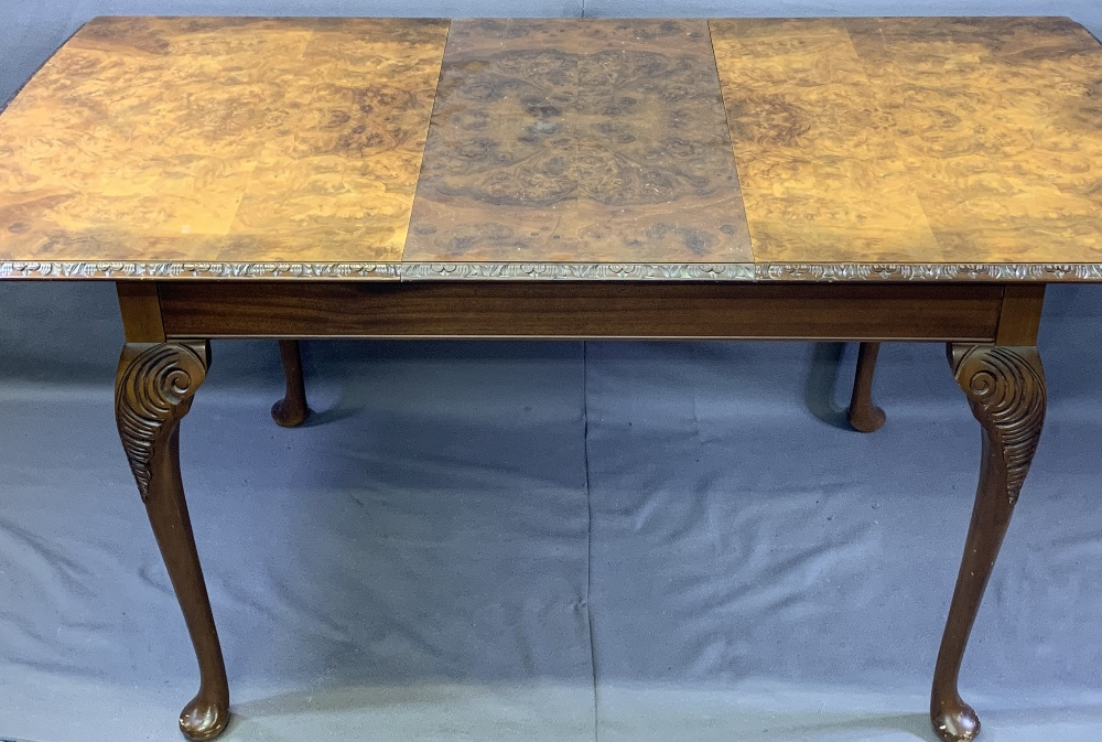 VINTAGE BURR WALNUT DINING SUITE consisting of sideboard, 92.5cms H, 140cms max W, 53.5cms D, - Image 7 of 9