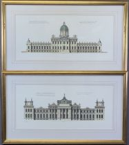 ARCHITECTS PEN & INK DRAWINGS - Castle Howard and Blenheim Castle, both well- presented and