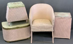LLOYD LOOM STYLE PINK BEDROOM FURNITURE, FOUR ITEMS to include a spring seated armchair, 75cms H,