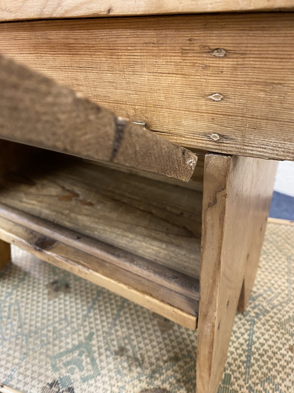 VINTAGE BAMBOO SIDE TABLE and a stripped pine footstool, 68.5cms H, 53.5cms W, 38.5cms D and 33cms - Image 2 of 5