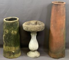 VINTAGE CYLINDRICAL CHIMNEY POTS (2) and a reconstituted stone bird bath with incised verse to the
