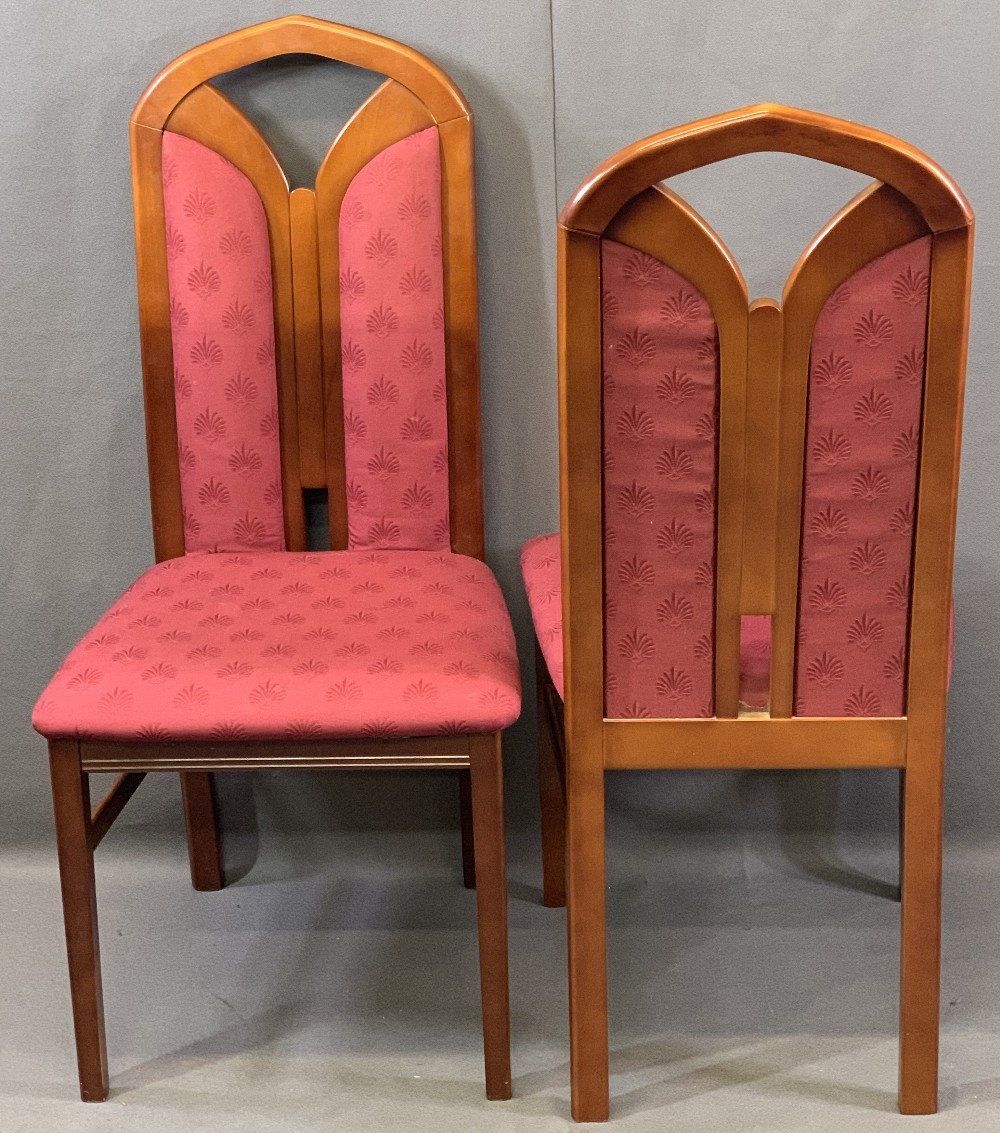 REPRODUCTION MAHOGANY DINING SUITE of drop-leaf table and four chairs, 73.5cms H, 100cms L, 34cms - Image 4 of 4