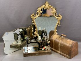 VINTAGE CASED SINGER SEWING MACHINE and two wall mirrors including a fancy gilt framed example,