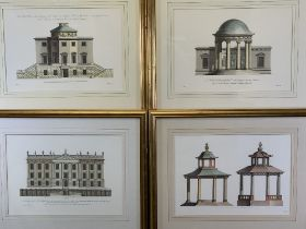 W CHAMBERS architectural type prints (2), - 'Tanfield Hall' Yorkshire, 33 x 46.5cms and one other,
