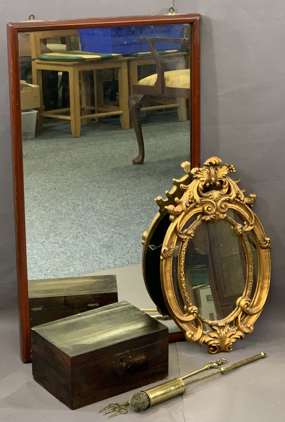 VICTORIAN & LATER MIRRORS & COLLECTABLES to include a circa 1890 mahogany framed mirror, 95cms H,