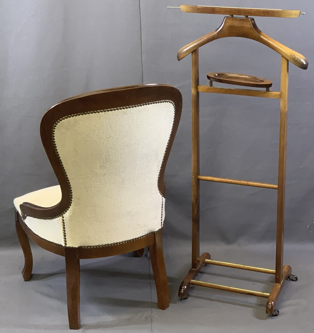 REPRODUCTION MAHOGANY BUTTON BACK UPHOLSTERED BALLOON BACK SALON CHAIR and a vintage style wooden - Image 2 of 2