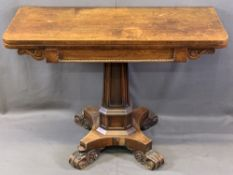 REGENCY MAHOGANY FOLDOVER TEA TABLE with beaded and scroll frieze detail on a segmented stepped