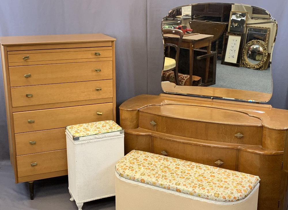 VINTAGE BEDROOM FURNITURE, FOUR ITEMS to include a Lebus six drawer chest, 117.5cms H, 79cms W,