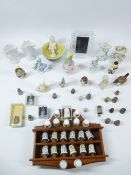 THIMBLE COLLECTION WITH RACK and a quantity of pin cushion dolls, and a boxed Waterford portrait