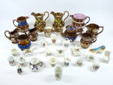CRESTED CHINA, a good assortment and copper lustre jugs, ETC