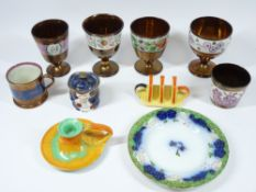 SHELLEY HARMONY CHAMBER STICK, Carltonware toast rack and a mixed selection of Victorian and other