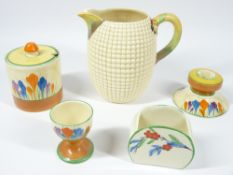 CLARICE CLIFF BIZARRE for Newport and Wilkinson's pottery, 5 pieces to include a squat