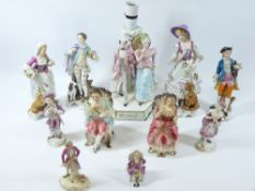 CONTINENTAL PORCELAIN FIGURINES GROUP, mainly in decorative attire