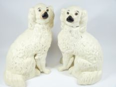 STAFFORDSHIRE LARGE COMFORTER DOGS with separated legs, an excellent pair, 39cms tall