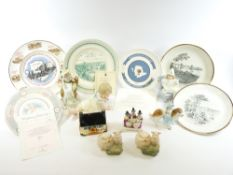 ANGLESEY & OTHER COMMEMORATIVE PLATES including Royal Doulton, Wedgwood, ETC. Also, a bisque piano