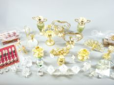 SWAROVSKI GLASSWARE, other fancy ornate cabinet items and a pair of ships in bottle, ETC